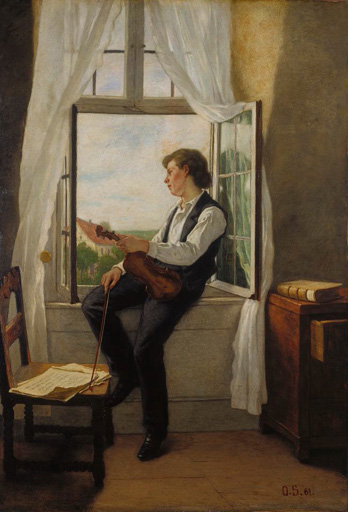 名画絵画のプリント作品販売 Otto Franz ScholdererのThe Violinist at the Window. 1861