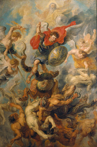 名画絵画のプリント作品販売 ピーテル・パウル・ルーベンス Peter Paul RubensのWar in Heaven. Archangel Michael in the fight against schismatic angels.