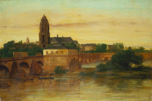 名画絵画のプリント作品販売 ギュスターヴ・クールベ Gustave CourbetのView of Frankfurt am Main from Sachsenhausen, with the Old Bridge. 1858