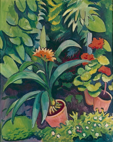 名画絵画のプリント作品販売 アウグスト・マッケ August MackeのFlower pots in a garden: bush lilies and pelargonidin. 1911