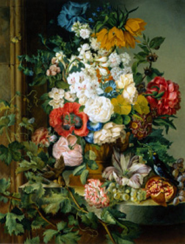 名画絵画のプリント作品販売 Josef SchusterのGreat flower painting with fruits, birds and insects. 1835