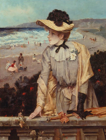 名画絵画のプリント作品販売 アルフレッド・ステヴァンス Alfred StevensのYoung woman at the beach (or: Parisian with sea-landscape as backdrop).