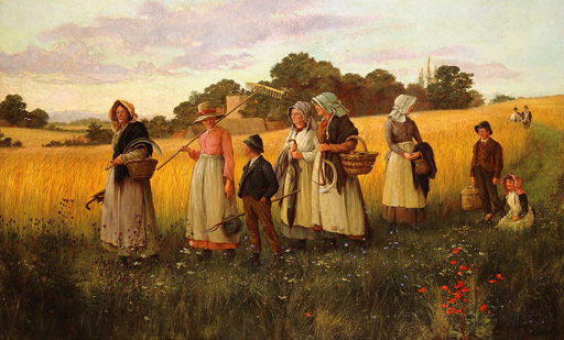 名画絵画のプリント作品販売 George MarksのBarley Cutters Returning from Work. 1882