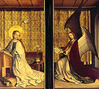 名画絵画のプリント作品販売 シュテファン・ロッホナー Stefan LochnerのAltar of the Cologne patron saint. Annunciation to Mary. 1440-45