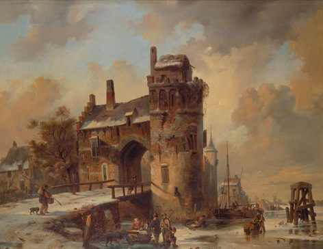 名画絵画のプリント作品販売 Jan Michael RuytenのWinter Landscape with an old City Gate. 1844