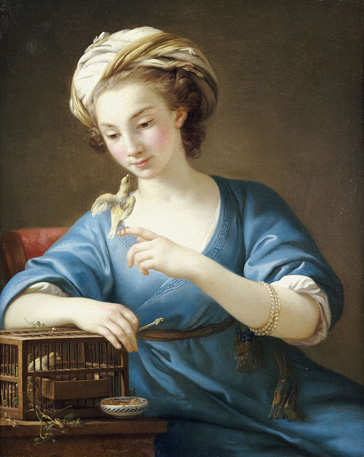 名画絵画のプリント作品販売 Joseph Marie VienのA Young Woman In Turkish Costume Seated Playing With A Cage-Bird. 1766