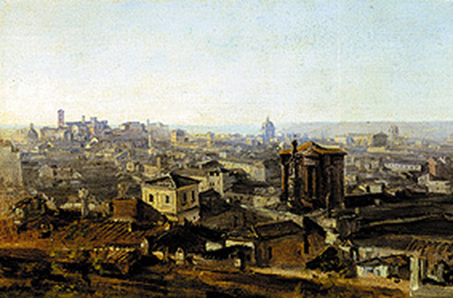 名画絵画のプリント作品販売 Johann Georg von DillisのView from the Villa Malta in Rome onto the Capitol.