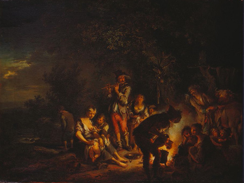名画絵画のプリント作品販売 Johann Conrad SeekatzのTravelling people by a camp fire.