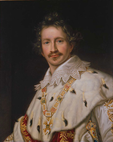 名画絵画のプリント作品販売 ヨーゼフ・カール・シュティーラー Joseph Karl StielerのKing Ludwig I. of Bavaria in coronation regalia (half-portrait). About 1826
