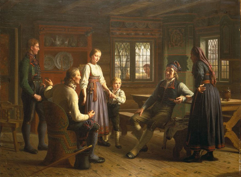 名画絵画のプリント作品販売 Heinrich August Georg SchiottのA Father proposing on behalf of his son (Telemarken/Norway).