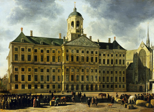 名画絵画のプリント作品販売 ヘリット・ベルクヘイデ Gerrit Adriaenszoon (Adriaensz) BerckheydeのView of the Town Hall, Amsterdam.