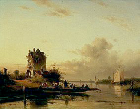 名画絵画のプリント作品販売 シャルル・リケルト Charles Henri Joseph LeickertのCrossing the river in the evening lighht. 1844