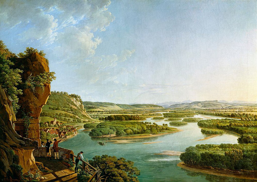 名画絵画のプリント作品販売 Peter BirmannのView from the Isteiner Klotz up the Rhine to Basel. Ca. 1819
