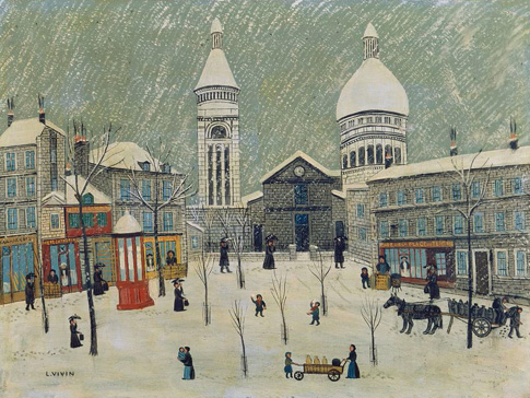 名画絵画のプリント作品販売 Louis VivinのPlace du Tertre in Winter.