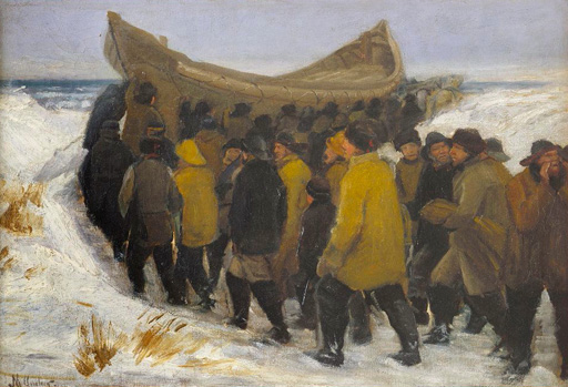 名画絵画のプリント作品販売 ミカエル・アンカー Michael Peter AncherのDanish fishermen carrying their boat to the water in winter.