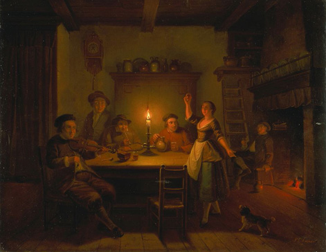 名画絵画のプリント作品販売 Pieter Geerard SjamaarのInn Interior by candle light.