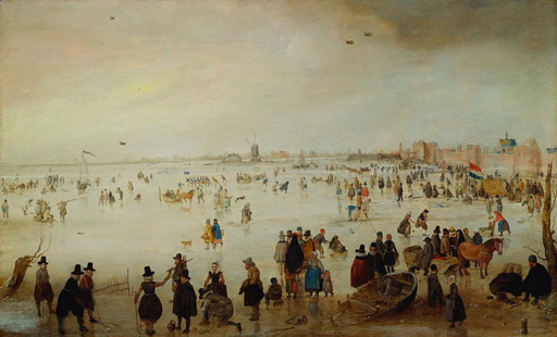 名画絵画のプリント作品販売 ヘンドリック・アーフェルカンプ Hendrick AvercampのSkaters, Kolf Players, Elegant Ladies and Gentleman on Frozen Floodwaters by the Broederpoort at Campen