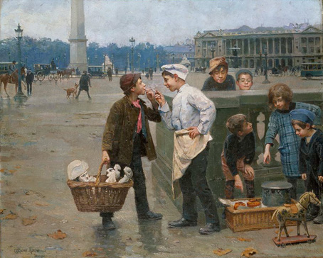 名画絵画のプリント作品販売 Paul Chocarne-MoreauのThe Little Traders. 1900