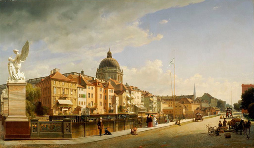 名画絵画のプリント作品販売 エドゥアルド・ゲルトナー Johann Philipp Eduard GaertnerのBerlin, Schlossfreiheit view from the Schlossbrucke. 1855