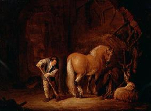 名画絵画のプリント作品販売 Isack van OstadeのView of Barn with Farm Worker, Horse and Billy Goat. 1646