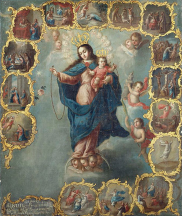 名画絵画のプリント作品販売 Miguel CabreraのThe Immaculate Conception With The Fifteen Mysteries Of The Rosary.