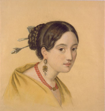 名画絵画のプリント作品販売 Louise Caroline SeidlerのPortrait of a lady with hair decoration.