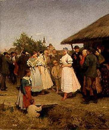 名画絵画のプリント作品販売 Lajos Deak EbnerのA Village Wedding in Hungary.
