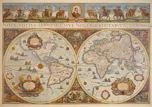 名画絵画のプリント作品販売 作者不明 (地図)のMap in two hemispheres with portrait of Pope Innocent XI. and portraits of European princes on horses. 1676.