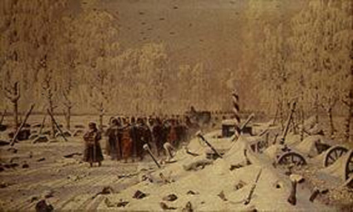 名画絵画のプリント作品販売 ヴァシーリー・ヴェレシチャーギン Vasily Vasilyevich Vereshchagin (Wassili Wassiljewitsch Wereschtschagin)のThe Retreat of Napoleon's troops from Russia. About 1895
