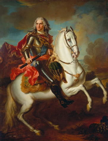 名画絵画のプリント作品販売 ルイ・ド・シルヴェストル Louis Silvestre the YoungerのKing Augustus II. (the Strong) of Poland mounted on a horse. About 1718.