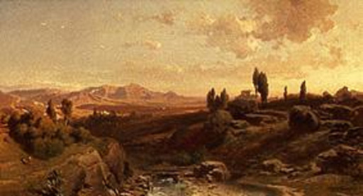 名画絵画のプリント作品販売 Fritz BambergerのMountain scenery in Spain. 1870.