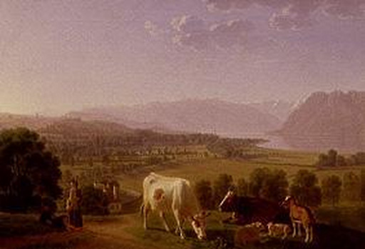 名画絵画のプリント作品販売 Johann Jakob BiedermannのPeasants with cows near Lausanne.