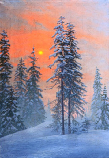 名画絵画のプリント作品販売 Friedrich Albin Koko-MicoletzkyのWintery forest in the evening sun.