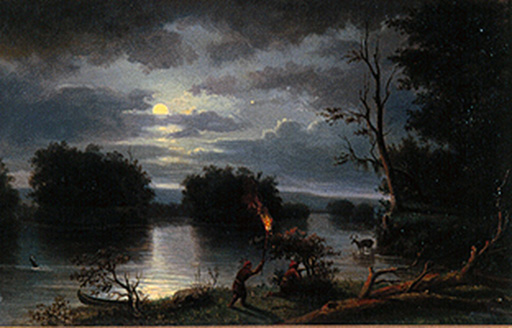 名画絵画のプリント作品販売 Henry LewisのAmerican Indians stag hunting by night, Mississippi. 1863