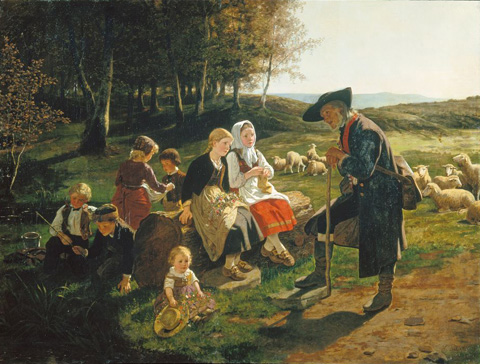 名画絵画のプリント作品販売 Hubert SalentinのChildren Listen to a Shepherd. 1868