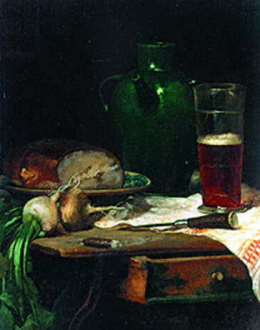 名画絵画のプリント作品販売 Ludwig EiblのStill-life with bread and beer.