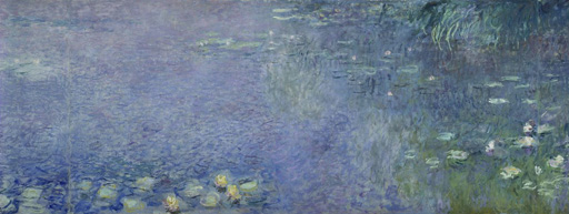 名画絵画のプリント作品販売 クロード・モネ Claude MonetのLeft centre piece of the large water lily painting in the Musee de l`Orangerie.