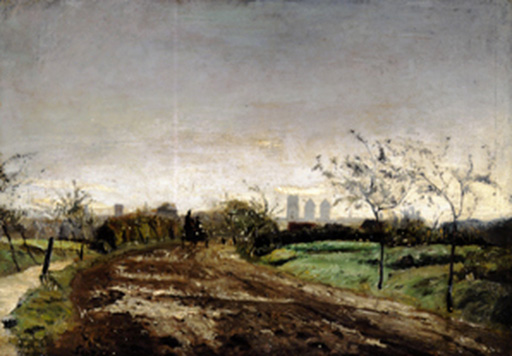 名画絵画のプリント作品販売 オットー・モーダーゾーン Otto ModersohnのMorning landscape with carriage approaching Munster. 1887
