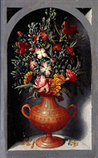 名画絵画のプリント作品販売 Ludger Tom Ring the YoungerのA vase of flowers in an alcove. 1565