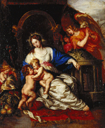 名画絵画のプリント作品販売 ヨアヒム・フォン・ザンドラルト Joachim von SandrartのVirgin Mary with Child and John the Baptist as a little boy.