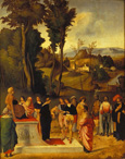 名画絵画のプリント作品販売 ジョルジョーネ Giorgione (Giorgio Barbarelli da Castelfranco)のMoses being tested by the Pharaoh. About 1505 Moses being tested by the Pharaoh. About 1505