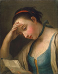 名画絵画のプリント作品販売 ピエトロ・ロータリ Pietro Antonio RotariのPortrait of a Woman reading. Portrait of a Woman reading.