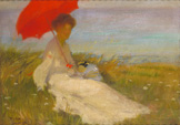 名画絵画のプリント作品販売 Karel SpillarのLady with a parasol. 1904 Lady with a parasol. 1904