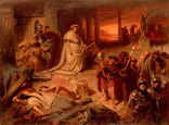 名画絵画のプリント作品販売 カール・フォン・ピロティ Carl(Karl) Theodor von PilotyのNero on the ruins of the burning Rome. Nero on the ruins of the burning Rome.