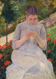 名画絵画のプリント作品販売 メアリー・カサット Mary Stevenson CassattのYoung Woman Sewing in the garden. Ca. 1880/8 Young Woman Sewing in the garden. Ca. 1880/82