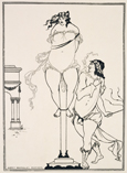 名画絵画のプリント作品販売 オーブリー・ビアズリーのJuvenal Scourging Woman, illustration from 'The Sixth Satire of Juvenal', 1896 (engraving)