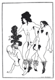 名画絵画のプリント作品販売 オーブリー・ビアズリーのThe Lacedaemonian Ambassadors, illustration from Lysistrata by Aristophanes 1896