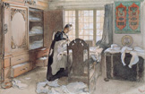 名画絵画のプリント作品販売 カール・ラーション Carl LarssonのKarin during her work with linnen laundry (Karin vid Linneskapet). 1906