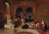 名画絵画のプリント作品販売 Filippo BarattiのAn Oath Of Allegiance In The Hall Of The Abencerrajes, Alhambra, Granada. 1879