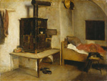 名画絵画のプリント作品販売 フランツ・デフレガー Franz DefreggerのLiving Room in a Farmhouse in Tyrol, Austria. Around 1875